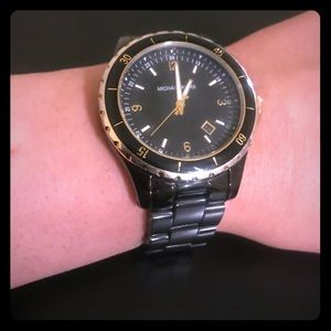 Michael Kors Black and Gold Acrylic Watch